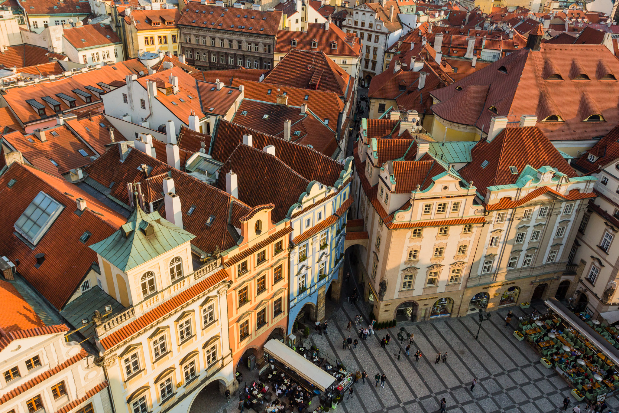 Typical red roofs in center of Prague